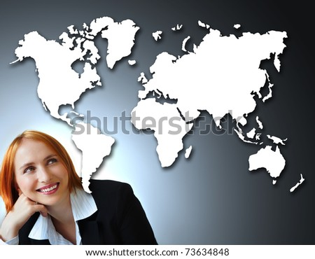 beautiful caucasian businesswoman thinking about the drawing of the map of the world with a positive attitude. - stock photo