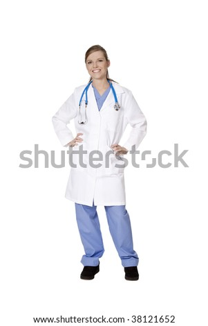 Beautiful Caucasian doctor or nurse on a white background - stock photo