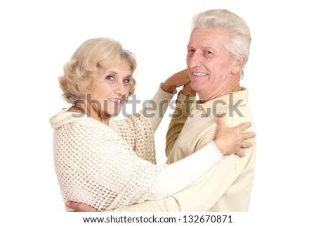 beautiful caucasian elderly couple over white background - stock photo