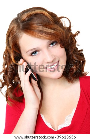 Beautiful caucasian fourteen year old teenager with cellphone.