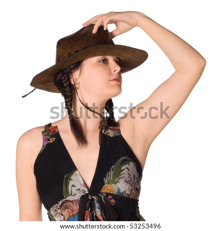 Beautiful caucasian girl in a cowboy hat over white background