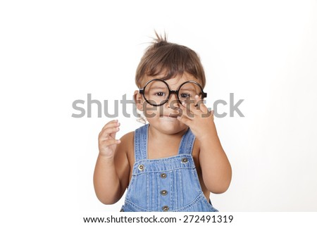 beautiful caucasian girl with glasses - stock photo
