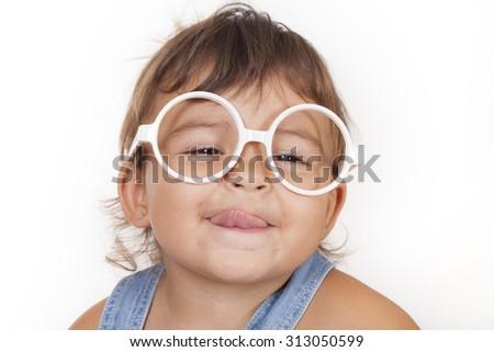 beautiful caucasian girl with glasses - stock photo
