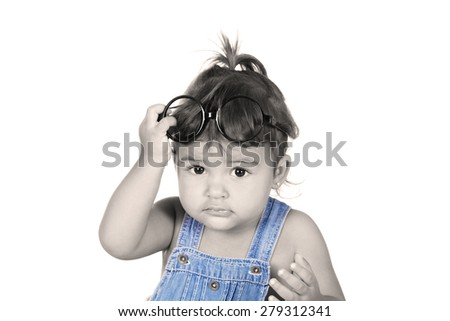beautiful caucasian girl with glasses on a white background - stock photo