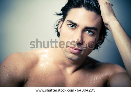 beautiful caucasian man portrait - stock photo