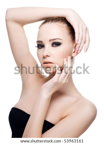 Beautiful caucasian sexy woman in black dress  posing- isolated on white - stock photo