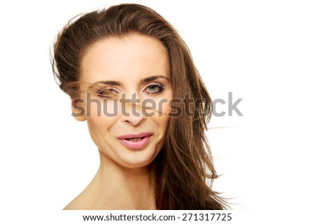 Beautiful caucasian spa woman with gorgeous hair.