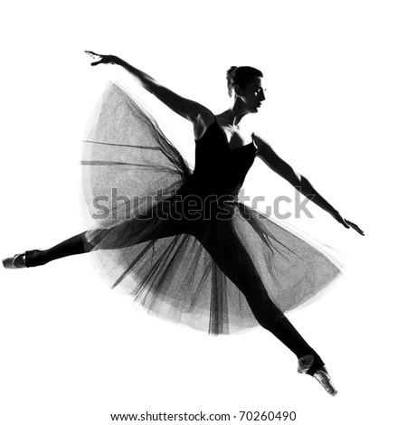 beautiful caucasian tall woman ballet dancer full length on studio isolated white background - stock photo