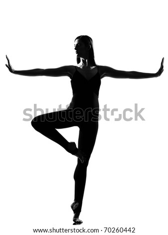 beautiful caucasian tall woman ballet dancer standing pose  full length on studio isolated white background - stock photo