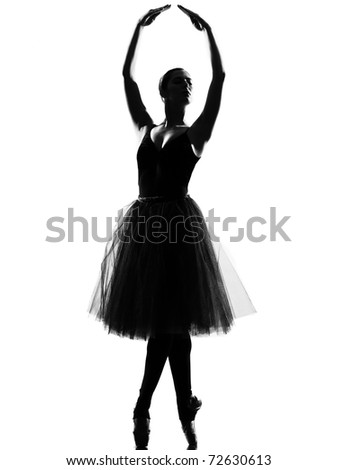 beautiful caucasian tall woman ballet dancer standing tiptoe pose  full length on studio isolated white background - stock photo