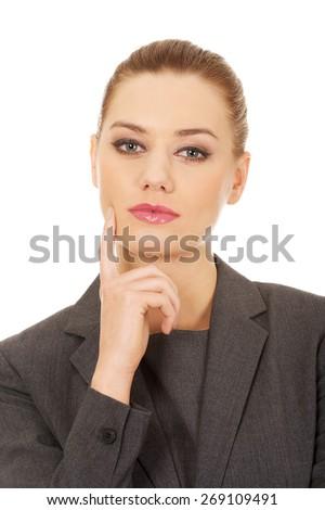 Beautiful caucasian thoughtful business woman. - stock photo