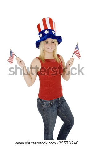 Beautiful Caucasian woman celebrating the 4th of July
