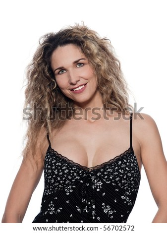 beautiful caucasian woman cheerful pose portrait wearing summer dresss isolated studio on white background