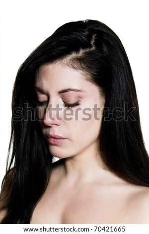 beautiful caucasian woman crying despair topless portrait on studio isolated white background - stock photo