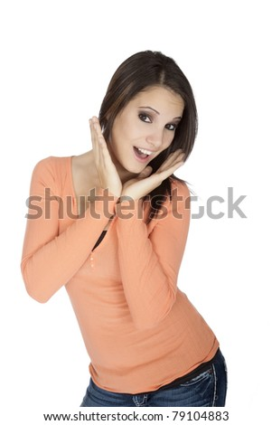 Beautiful Caucasian woman displaying some attitude on a white background