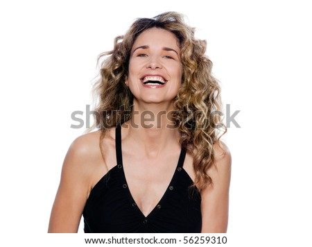 beautiful caucasian woman laughing portrait isolated studio on white background