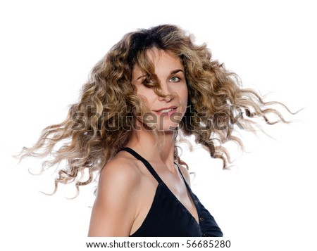 beautiful caucasian woman move curly hair smiling portrait isolated studio on white backgroun - stock photo