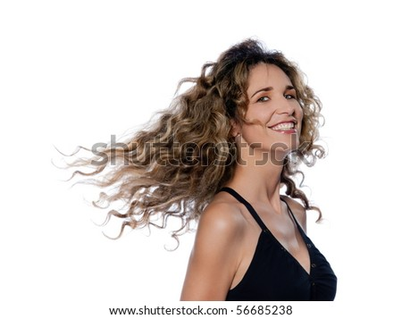 beautiful caucasian woman moving curly hair portrait isolated studio on white backgroun