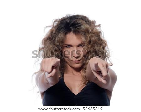 beautiful caucasian woman pointing suspicious portrait isolated studio on white backgroun - stock photo