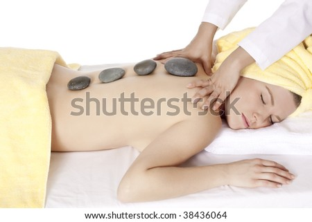 Beautiful Caucasian woman relaxing for the day at a spa - stock photo