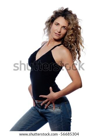 beautiful caucasian woman seductive portrait isolated studio on white backgroun - stock photo
