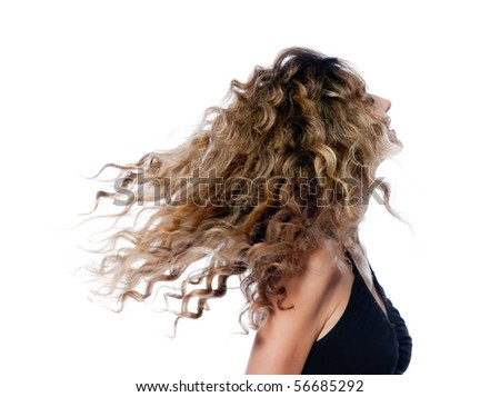 beautiful caucasian woman shake curly hair portrait isolated studio on white backgroun - stock photo