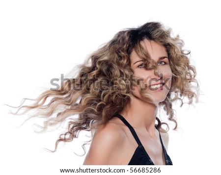 beautiful caucasian woman shake hair  portrait isolated studio on white backgroun - stock photo