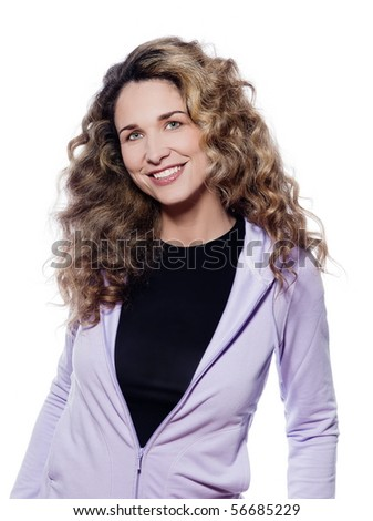 beautiful caucasian woman smiling happy portrait isolated studio on white background - stock photo
