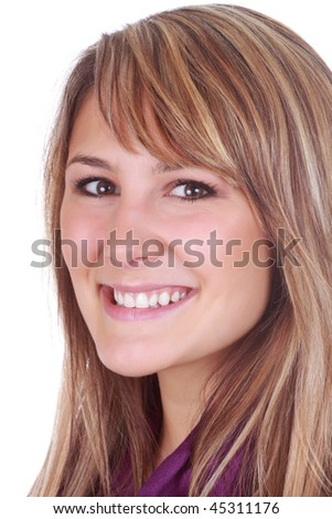 beautiful caucasian woman smiling, white background