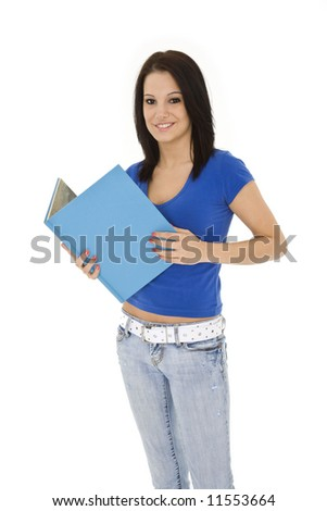 Beautiful caucasian woman standing on a white background wearing casaul clothing and smiling and holding a book
