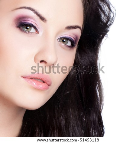 beautiful caucasian woman with brunette hair isolated on white - stock photo
