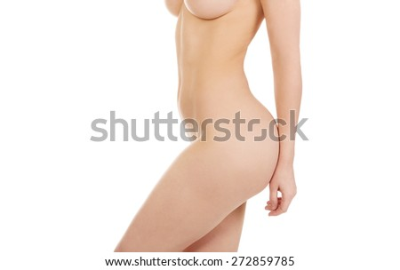 Beautiful caucasian woman with naked breast.