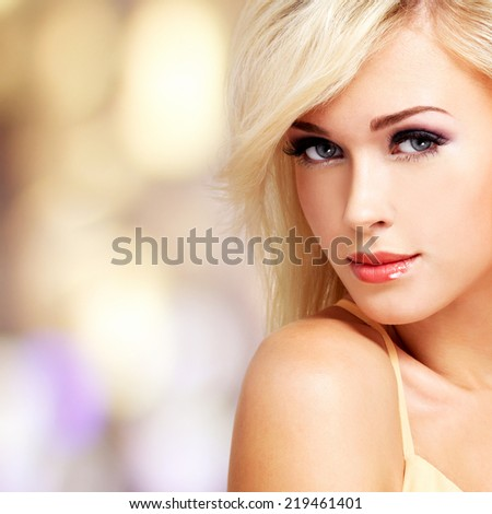 Beautiful caucasian woman with white hairs on art background - stock photo