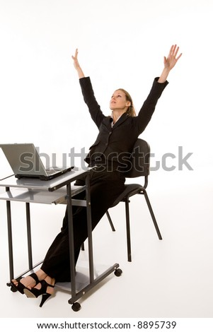 Beautiful caucasian woman working at  laptop over white background - stock photo