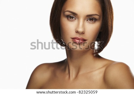 Beautiful caucasian women with brown hair - stock photo