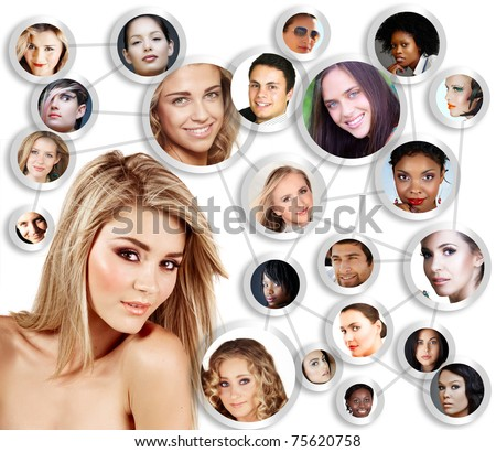 beautiful caucasian young woman with social network of young peer friends men and women in their 20s. - stock photo