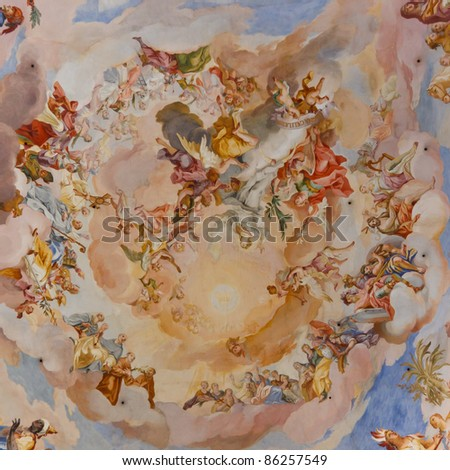 Beautiful ceiling frescos at baroque church in Steinhausen, Germany. - stock photo