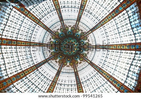 Beautiful ceiling in department store in Paris, France - stock photo