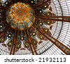 Beautiful ceiling in shop Galleries Lafayette, Paris - stock photo