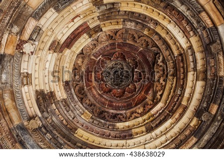 Beautiful ceiling of the Portal, in India - stock photo