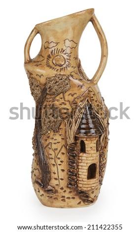 Beautiful ceramic jug isolated on white background - stock photo