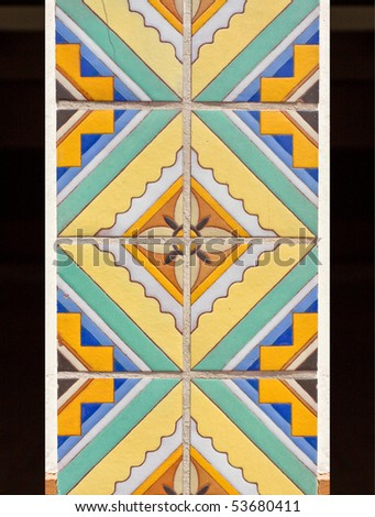 Beautiful ceramic tile mosaic with flower pattern - stock photo
