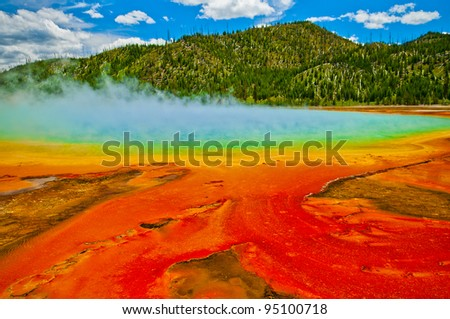 Beautiful cerulean geyser surrounded by colorful layers of bacteria, against cloudy blue sky.