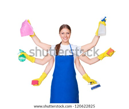 beautiful charwoman with six hands isolated on white background - stock photo