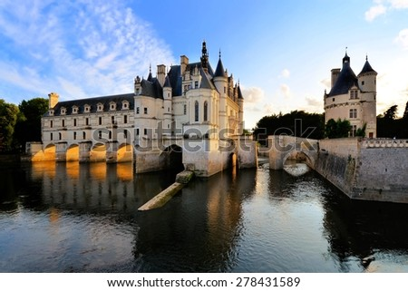 Beautiful Chateau de Chenonceau at dusk over the River Cher, Loire Valley, France - stock photo