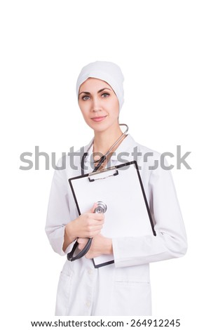 Beautiful cheerful female doctor, professional with stethoscope and white paper blank. Isolated - stock photo