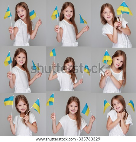 Beautiful cheerful little girl in a white dress holding a flag of Ukraine on Independence Day - stock photo