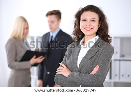 Beautiful cheerful smiling business woman  - stock photo