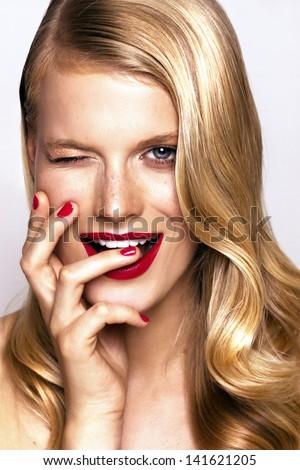 beautiful cheerful woman, studio portrait - stock photo