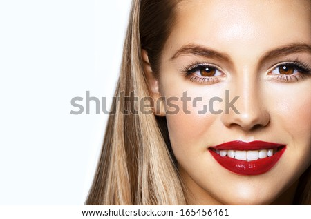 beautiful cheerful woman, studio portrait with red lips - stock photo